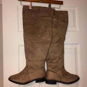 Women's brown thigh high boots